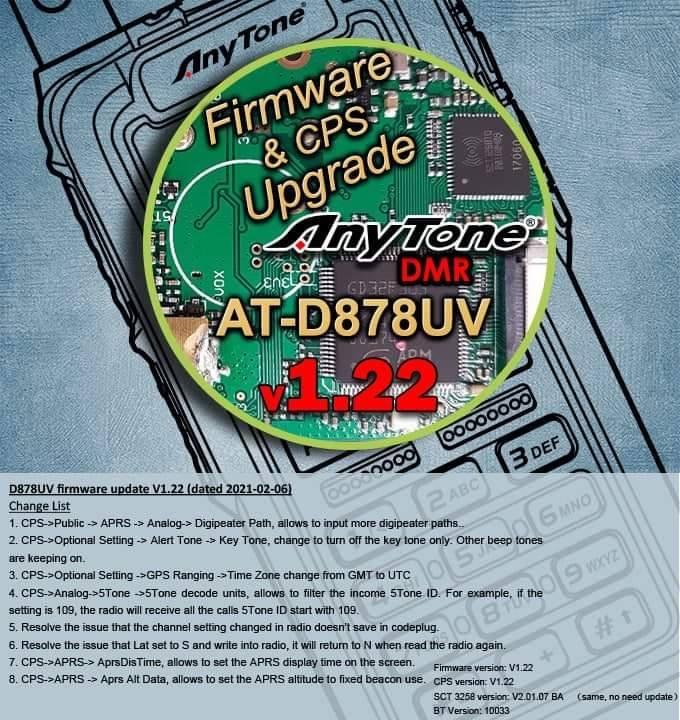AnyTone D878UV升级V1.22版本固件